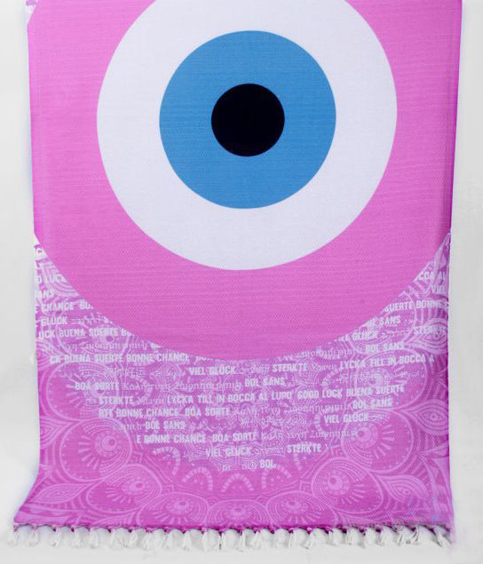 Pink Evil Eye Beach Towel and Pareo