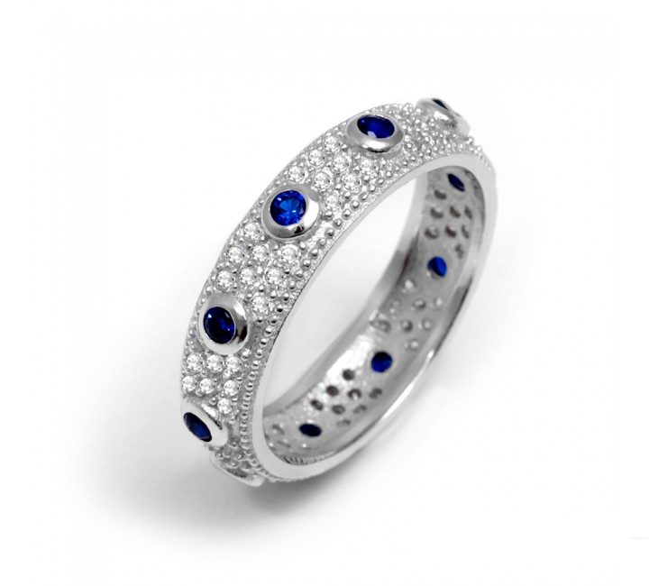 Sapphire and Crystal Stackable band