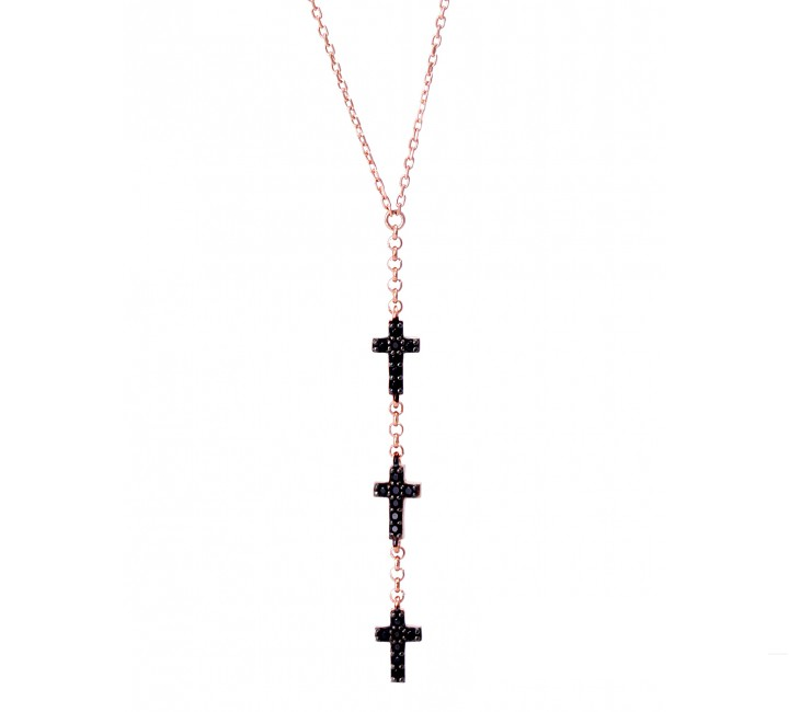 Trinity Onyx Cross Necklace