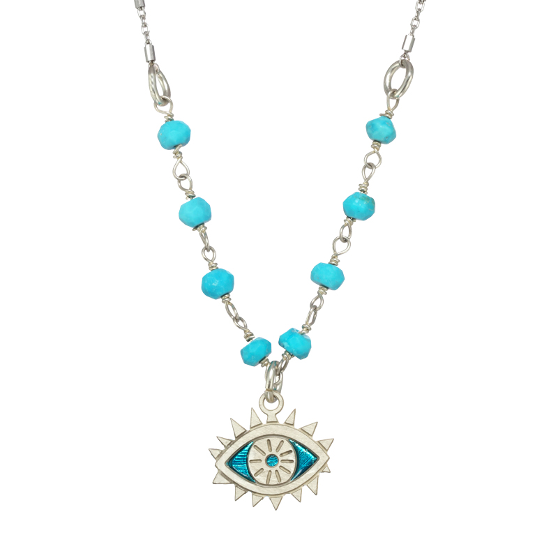 Silver Turquoise Eye Necklace
