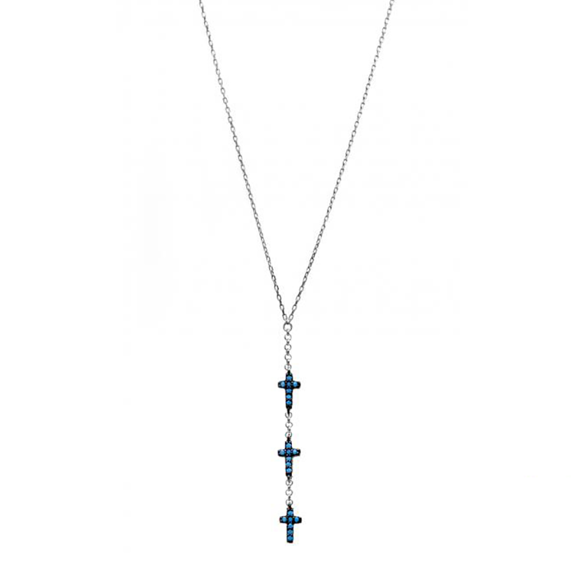 Turquoise Trinity Cross Necklace