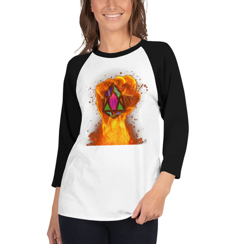 Image of PIX - pixEOS FLAMING FIST - *Women's 3/4 Sleeve Shirt*