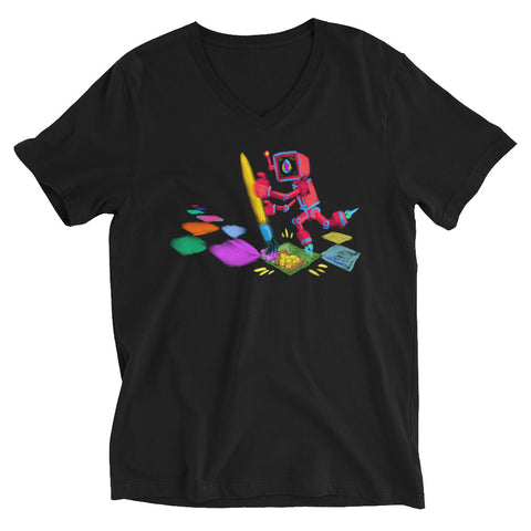 "Image of JC - ""Lucky Pixel Painter/Joe Chiappetta""  - *Men's/Women's/Unisex V-Neck T-Shirt*"