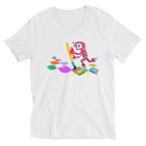 "JC - ""Lucky Pixel Painter/Joe Chiappetta""  - *Men's/Women's/Unisex V-Neck T-Shirt*"