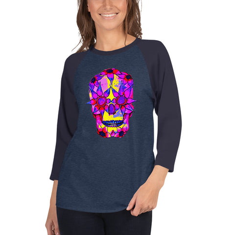 Image of OP - Pink Skully - *Women's 3/4 sleeve Shirt*