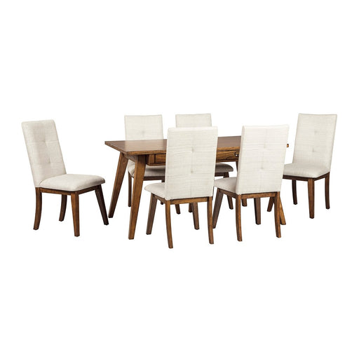 Centiar Two-Tone Brown Rectangular Dining Room Table w/6 Upholstered Side Chairs - Austin's Couch Potatoes Furniture