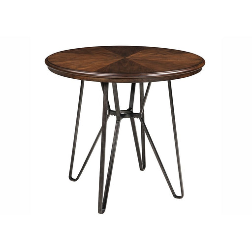 Centiar Two-Tone Brown Round Dining Room Counter Table w/4 Upholstered Barstools - Austin's Couch Potatoes Furniture