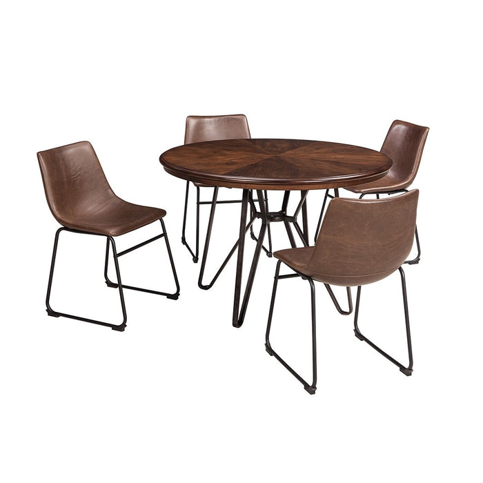 Centiar Two-Tone Brown Round Dining Room Table w/4 Upholstered Side Chairs - Austin's Couch Potatoes Furniture