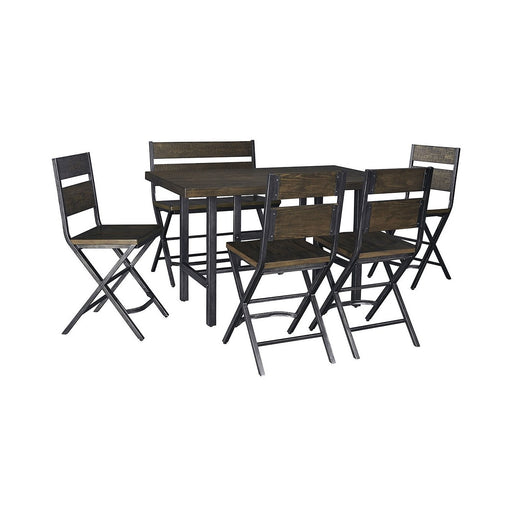 Kavara Medium Brown Rectangular Dining Room Counter Table w/4 Side Chairs and Double Barstool - Austin's Couch Potatoes Furniture