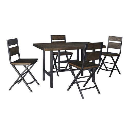 Kavara Medium Brown Rectangular Dining Room Counter Table w/4 Stools - Austin's Couch Potatoes Furniture