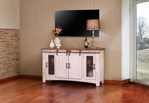 "Pueblo White 60"" TV Stand - Austin's Couch Potatoes Furniture"