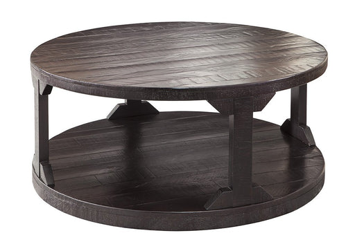 Rogness Rustic Brown Round Cocktail Table - Austin's Couch Potatoes Furniture