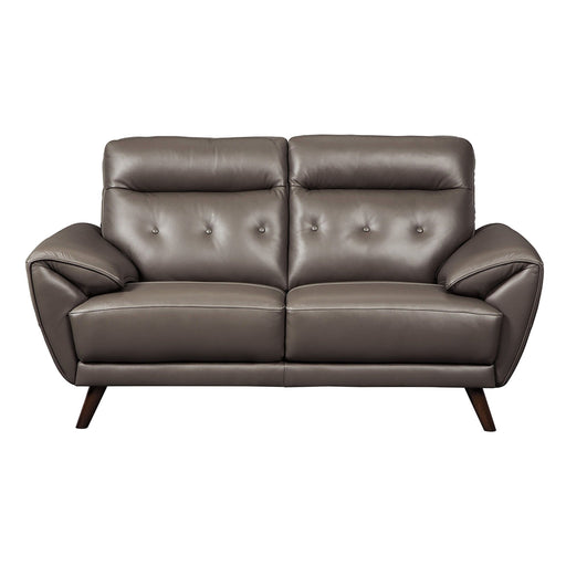 Sissoko Gray Leather Loveseat - Austin's Couch Potatoes Furniture