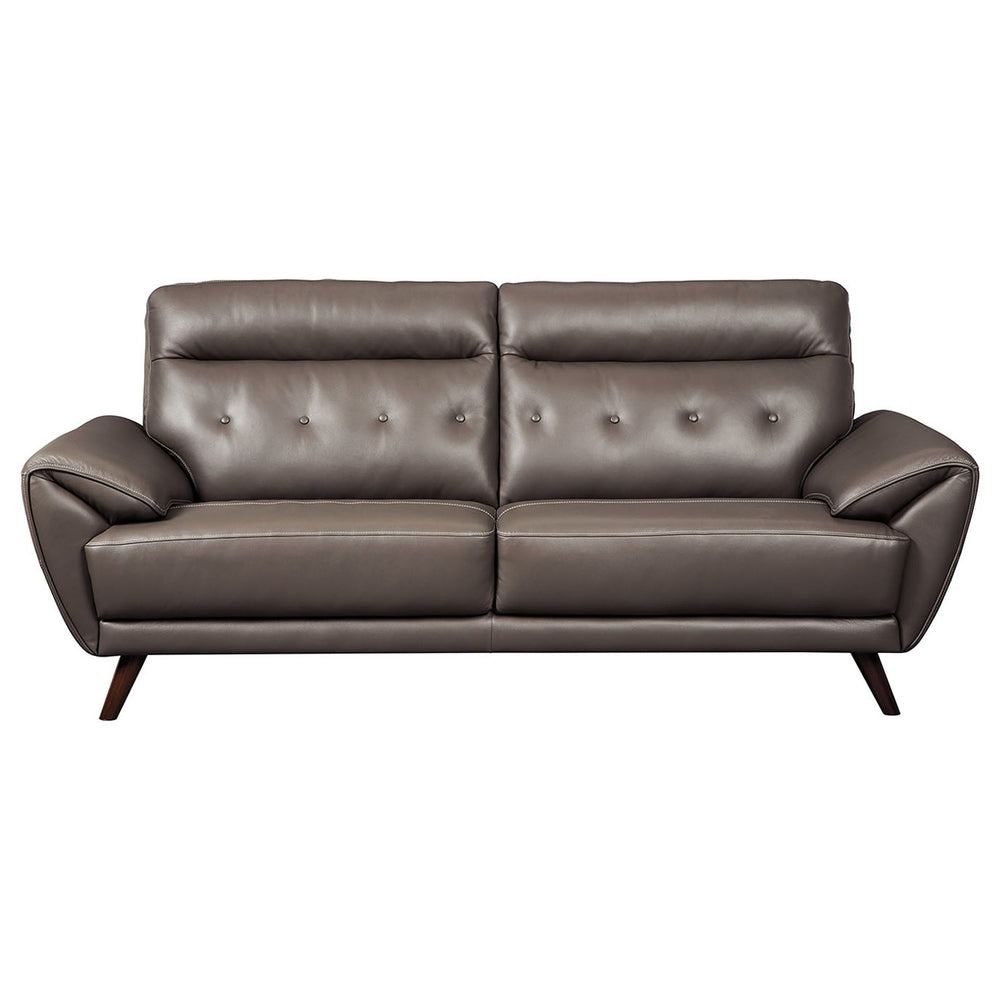 Sissoko Gray Leather Sofa - Austin's Couch Potatoes Furniture