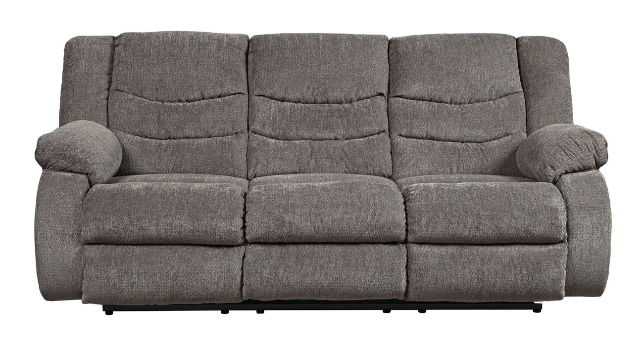 Tulen Gray Reclining Sofa - Austin's Couch Potatoes Furniture