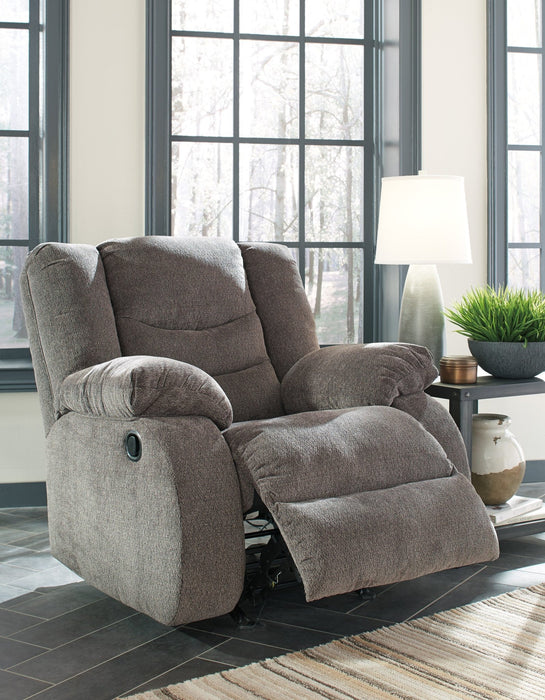 Tulen Gray Rocker Recliner - Austin's Couch Potatoes Furniture