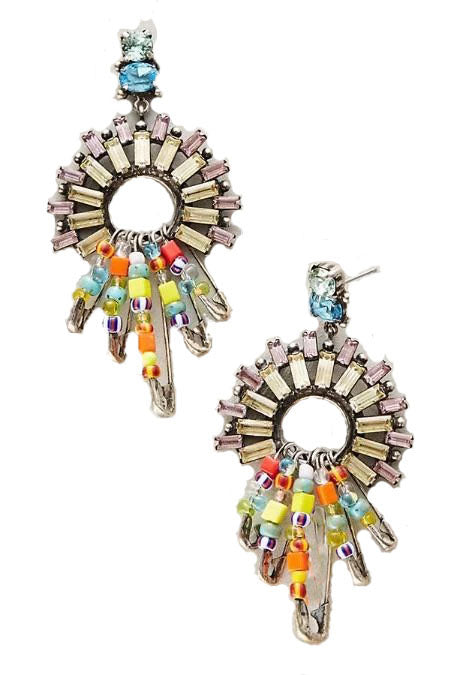 Rainbow Pin Layering Statement Earrings