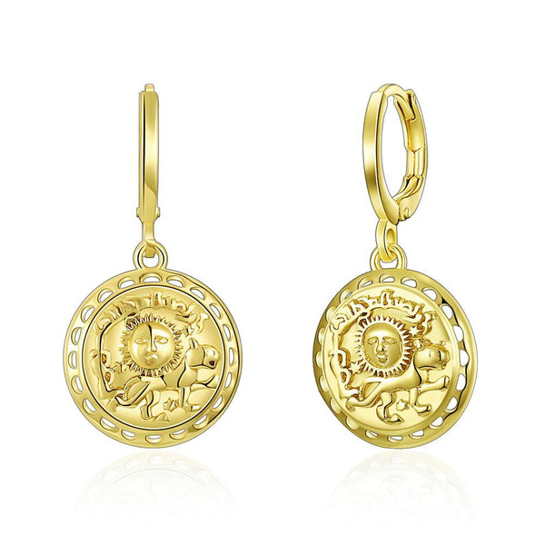Sun Scribed Medallion Drop Earrings in 14K Gold