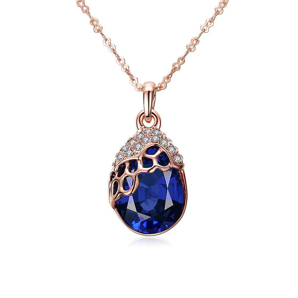 Blue Honeycomb Swarovski Pendant Necklace