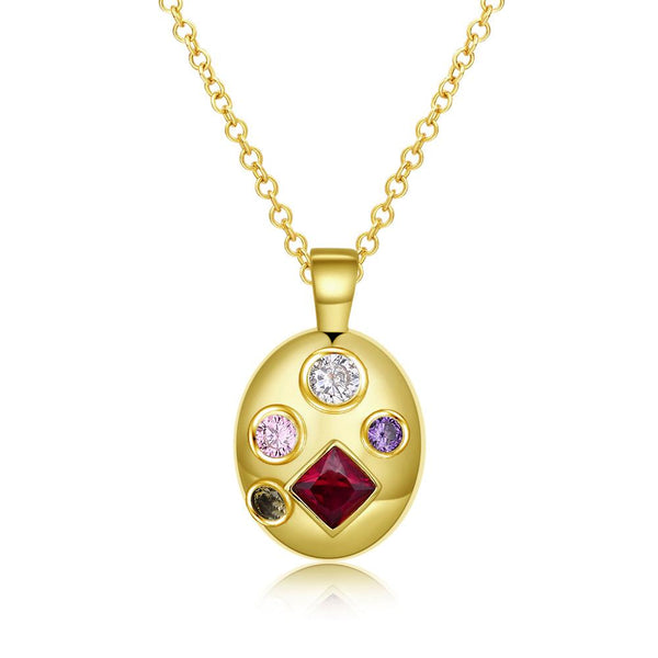 Four Stone Swarovski Pendant Necklace in 14K Gold