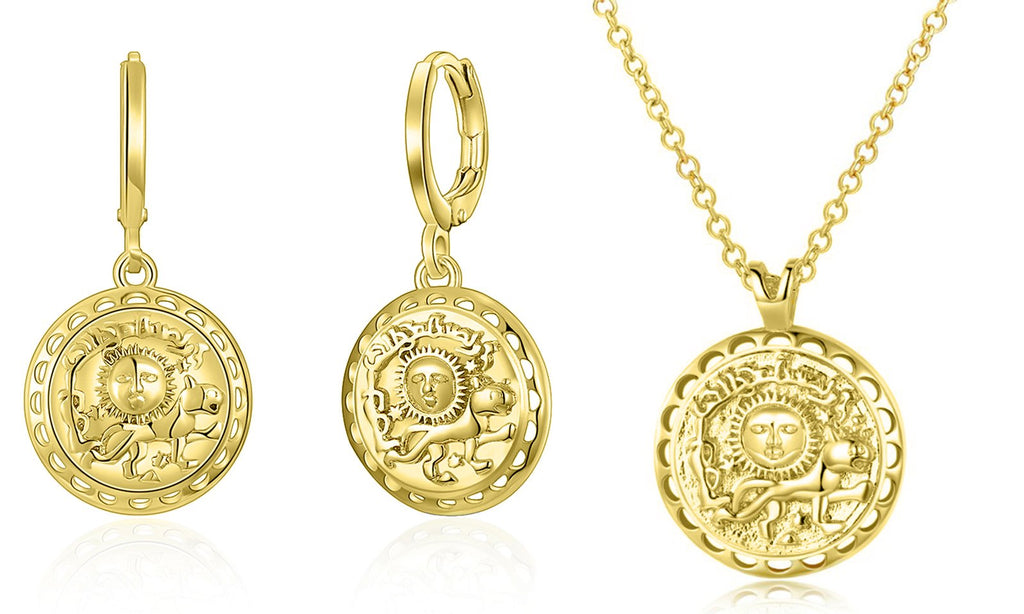 Roman Ingrain Medallion Earrings & Necklace Set in 18K Gold