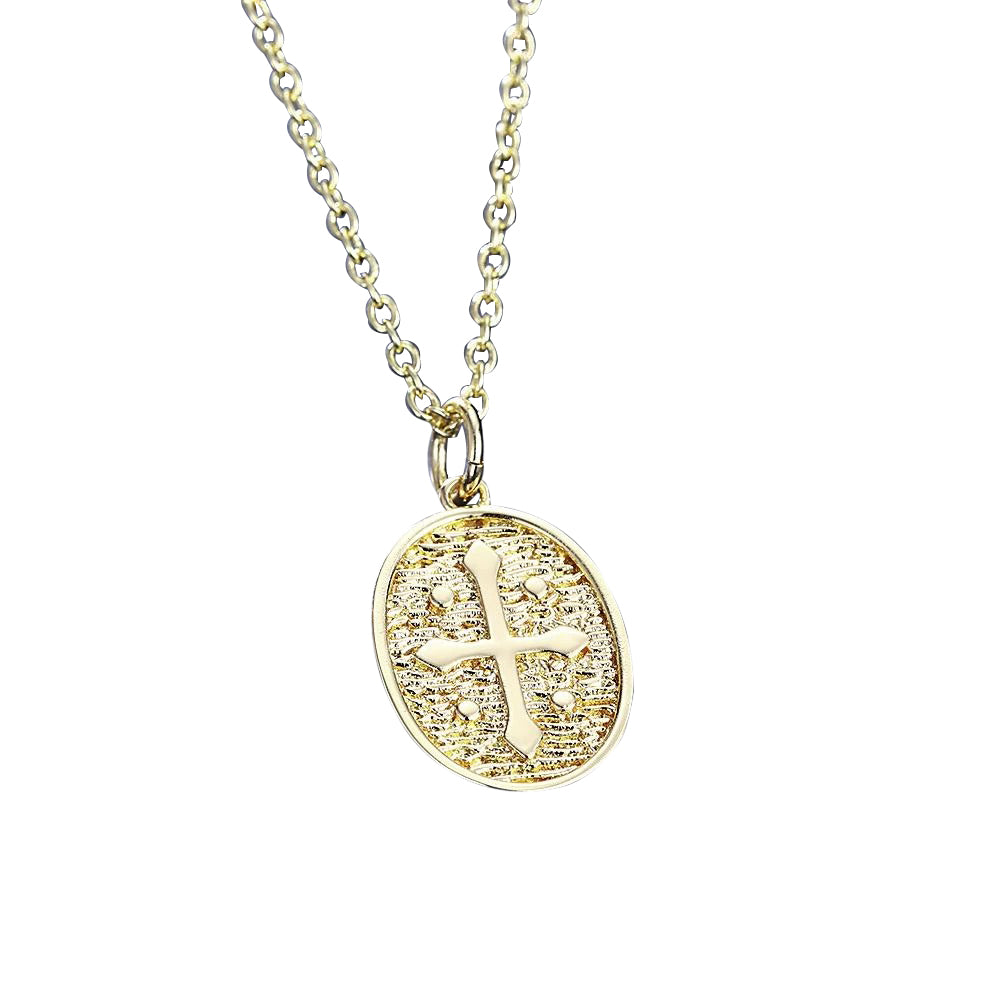 18K Coin Cross Necklace in 18K Gold Plated
