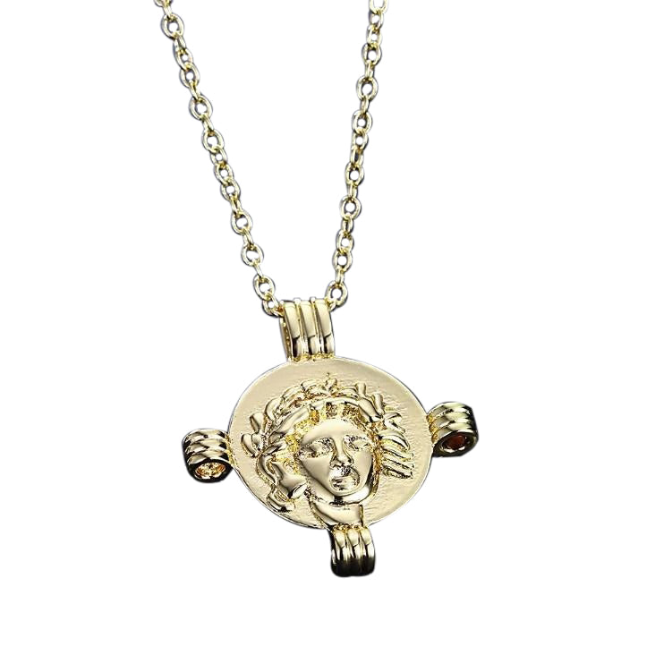 Greek Coin Cross Necklace in 18K Gold Plated