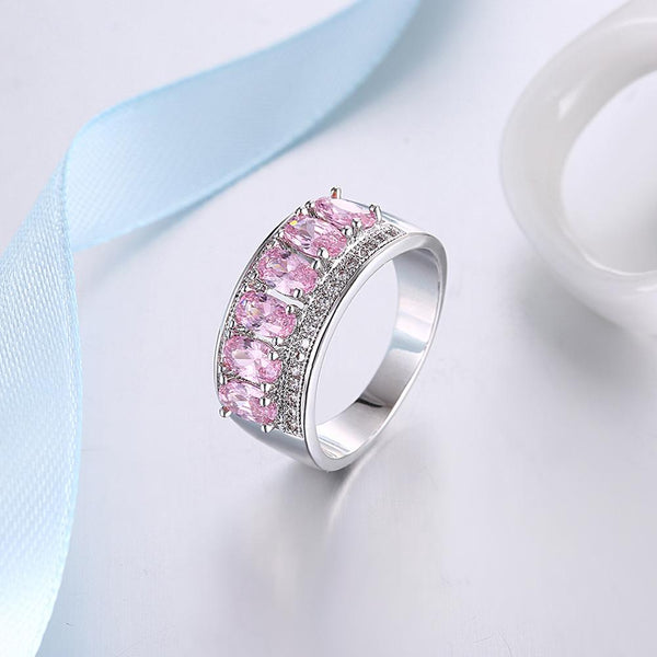 Pink Sapphire Six Stone Oval Cut White Gold Ring