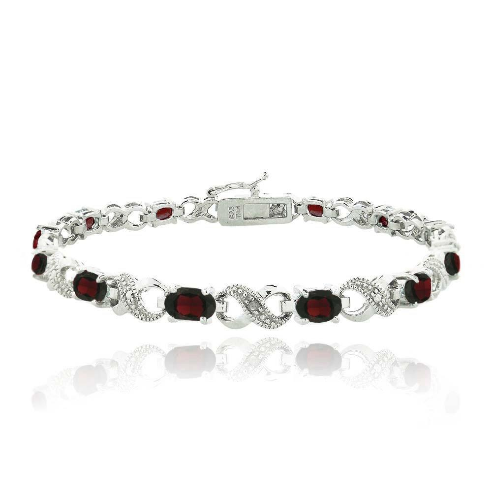 10.00 CT Genuine Ruby Infinity Bracelet Embellished with Swarovski Crystals in 18K White Gold Plated