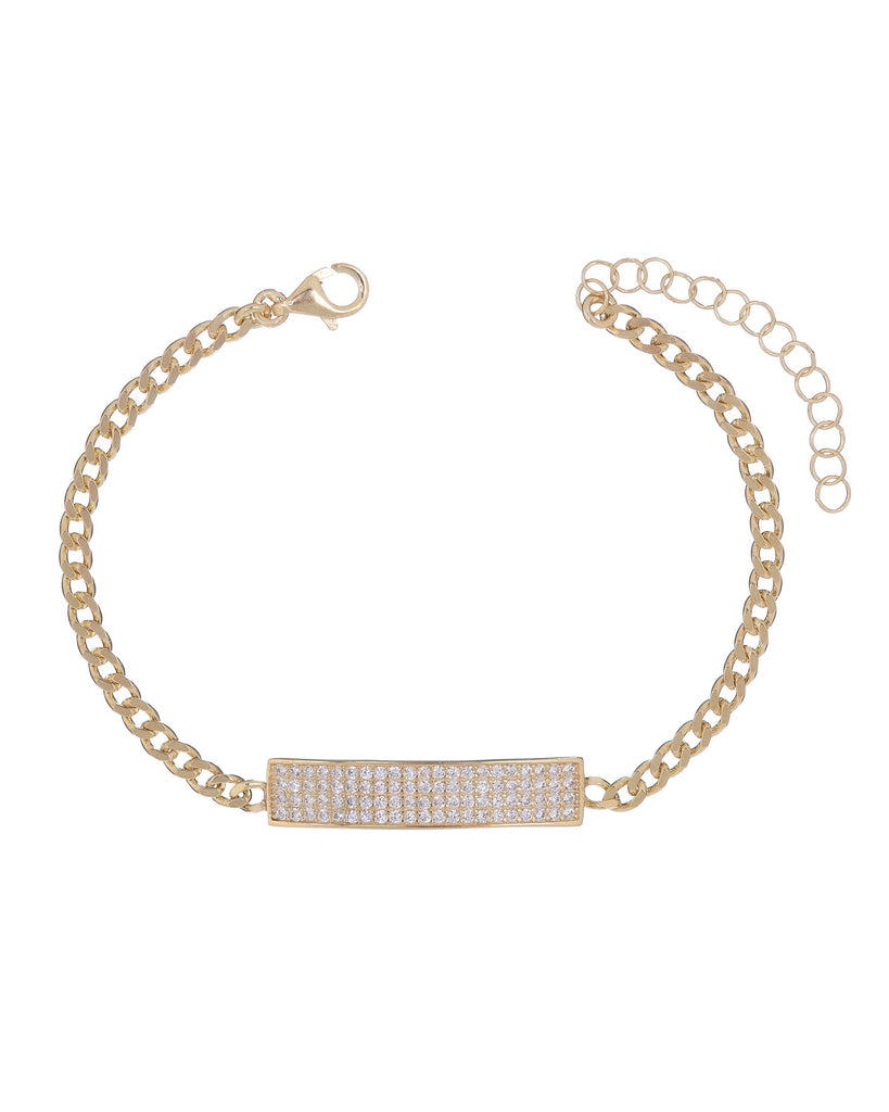 "Pave White Topaz Chain Bracelet 7.8"" +2"" Embellished with Swarovski Crystals in 18K Rose Gold Plated"