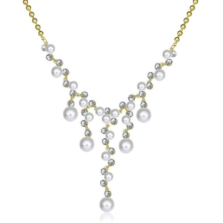 Dangling Pearl Chandelier Pav'e Statement Necklace