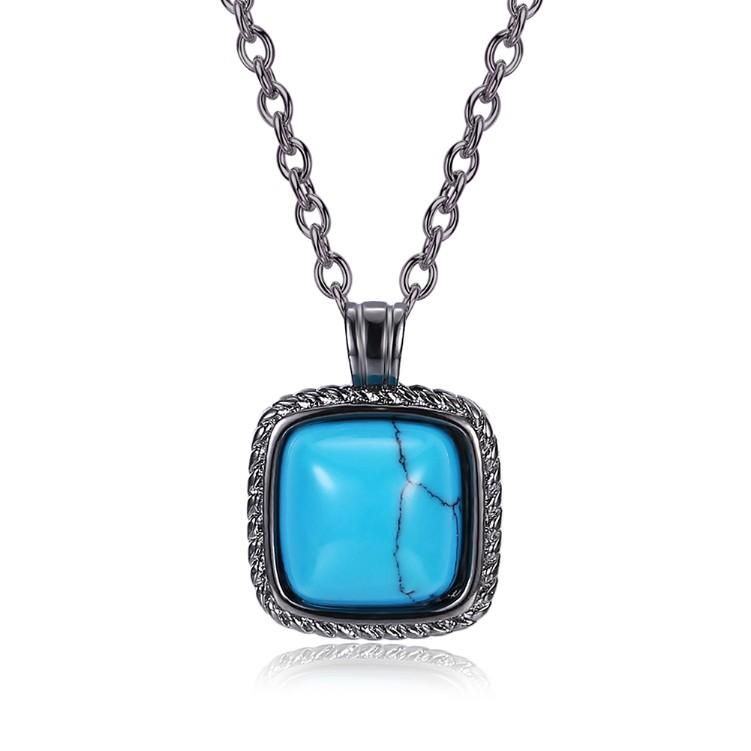 Turquoise Halo Shaped Necklace in Black Gun Plating