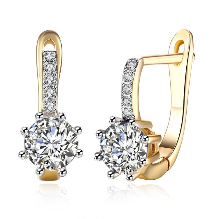 Simulated Star Shaped Micro Pav'e Leverback Earrings Set in 18K Gold