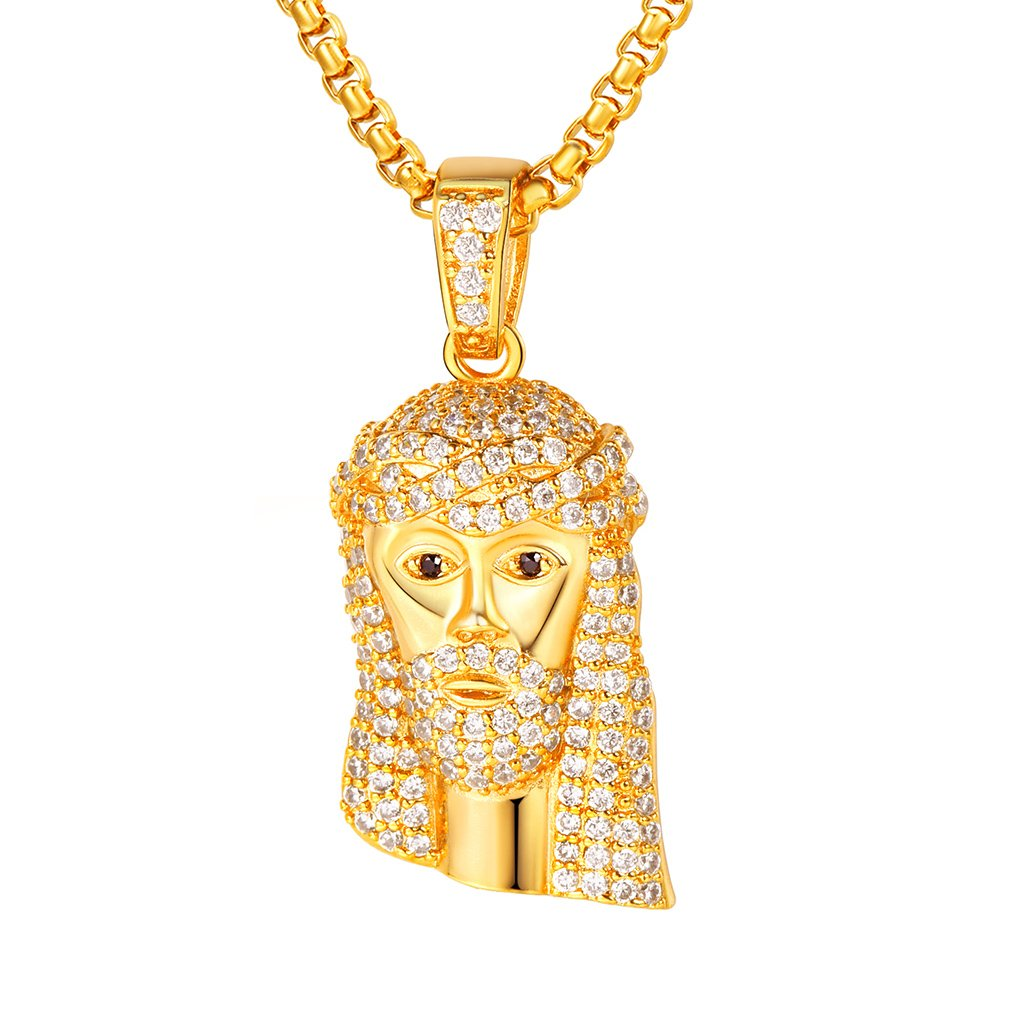 Classic Diamond Created Iced Out Jesus  Necklace