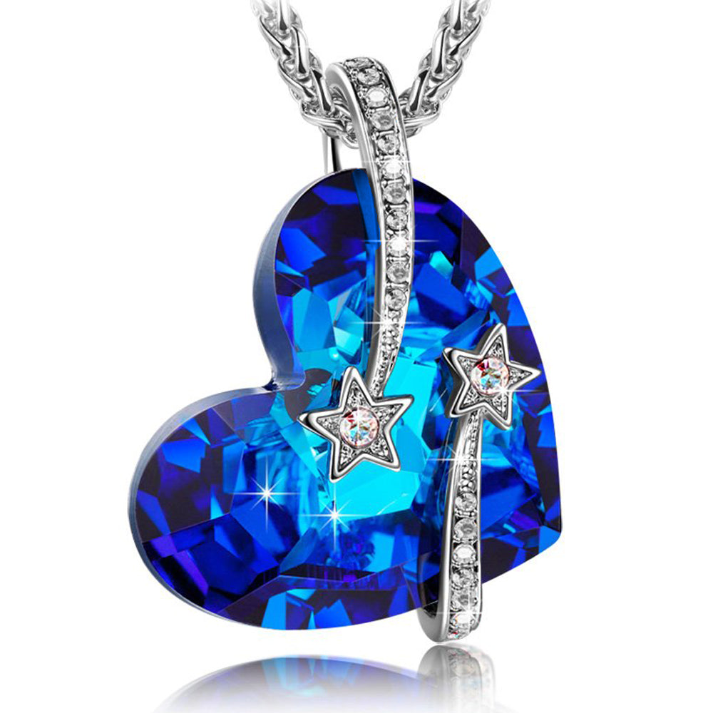 Swarovski Crystals Bermuda Blue Venus Shooting Stars  Necklace