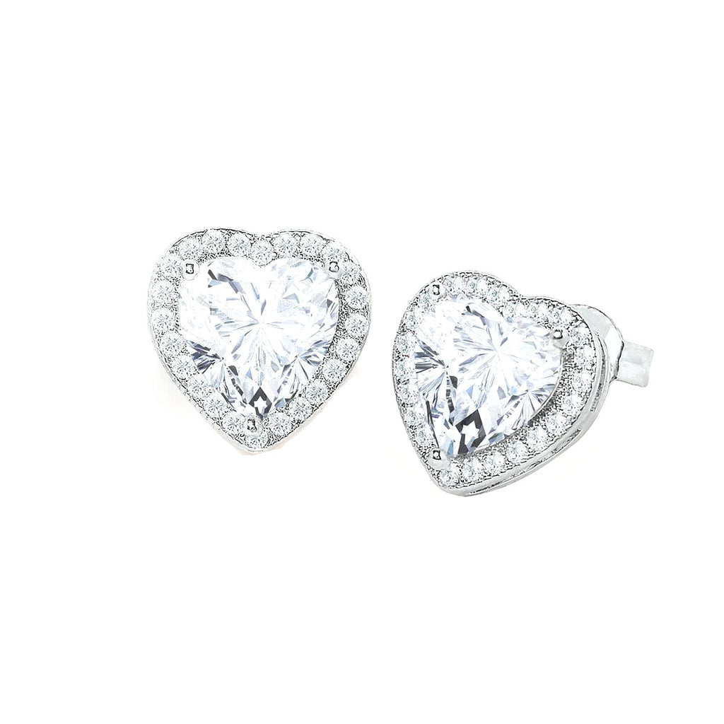 Swarovski Crystals Pave Heart Stud  Earring