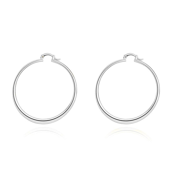"2"" Flat Hoop Earrings in 18K White Gold Plated"