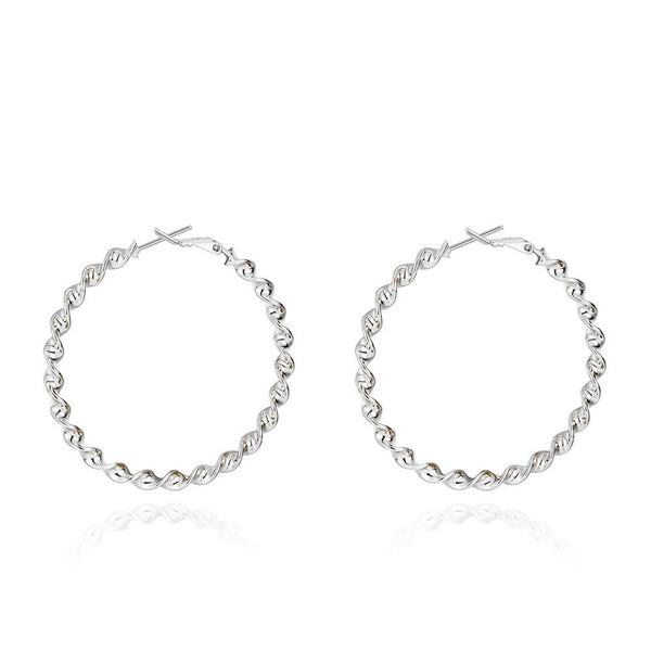 "2"" Twist Hoop Earrings in 18K White Gold Plated"