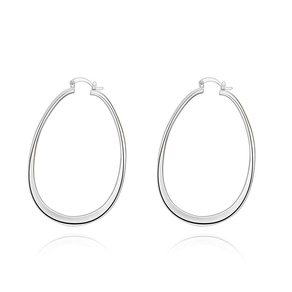 "3"" Oval Hoop French Lock Earrings in 18K White Gold Plated"