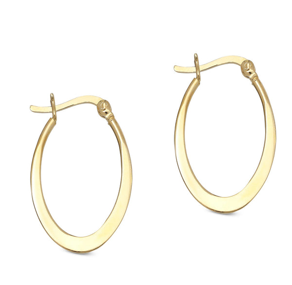 Flat Oval Hoop Earring with French Lockin 18K Gold Plated