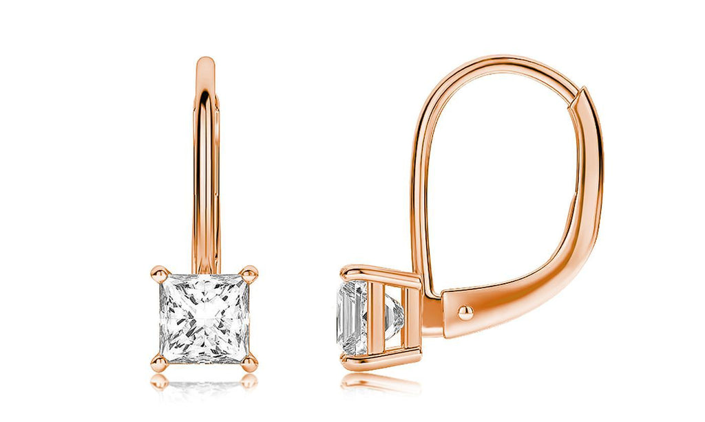 Diamond Princess Cut Leverback Earring in 18K Rose Gold Plated
