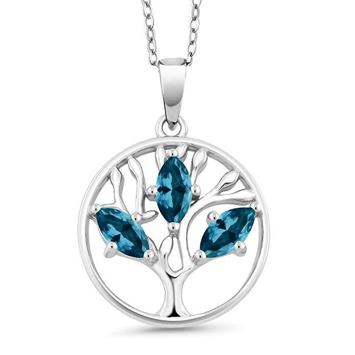 Motherly Blue Topaz Tree Of Life Necklace in 18K White Gold Plated