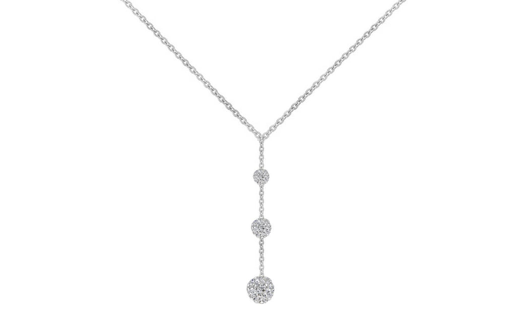 Tripple Embellished with Swarovski Crystals Ball Drop Necklace in 18K White Gold Plated