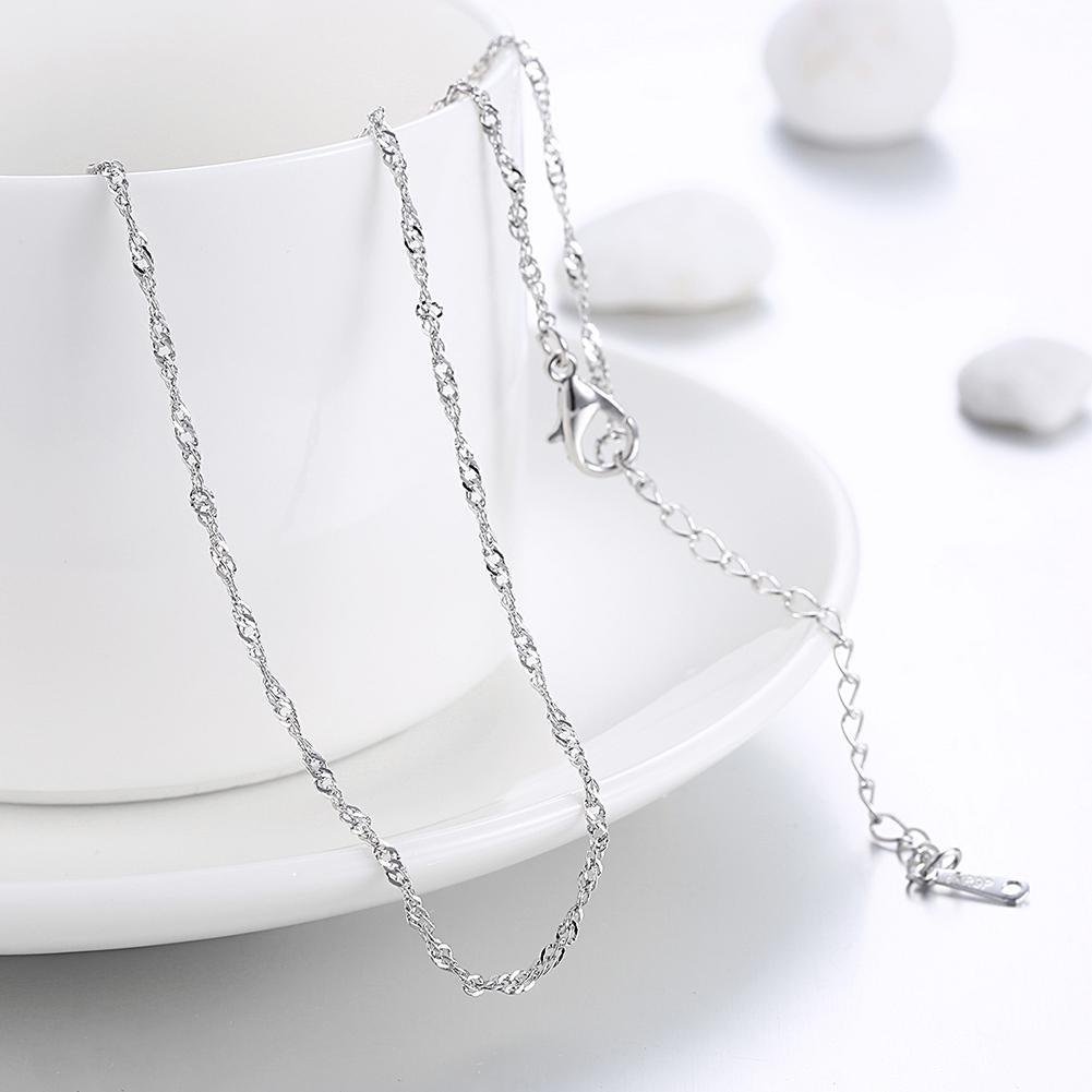 18K White Gold Plated Twisted Roc Chain Necklace