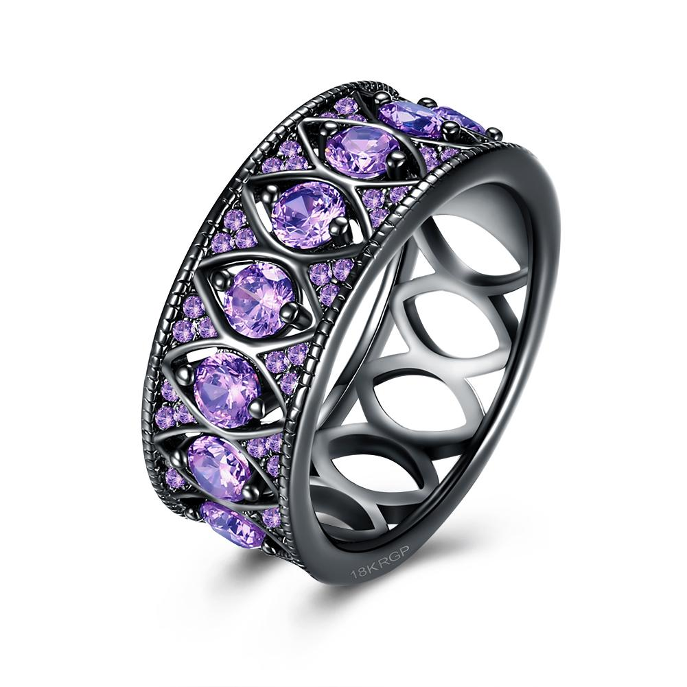Multi Purple Swarovski Filigree Black Gun Plating Ring