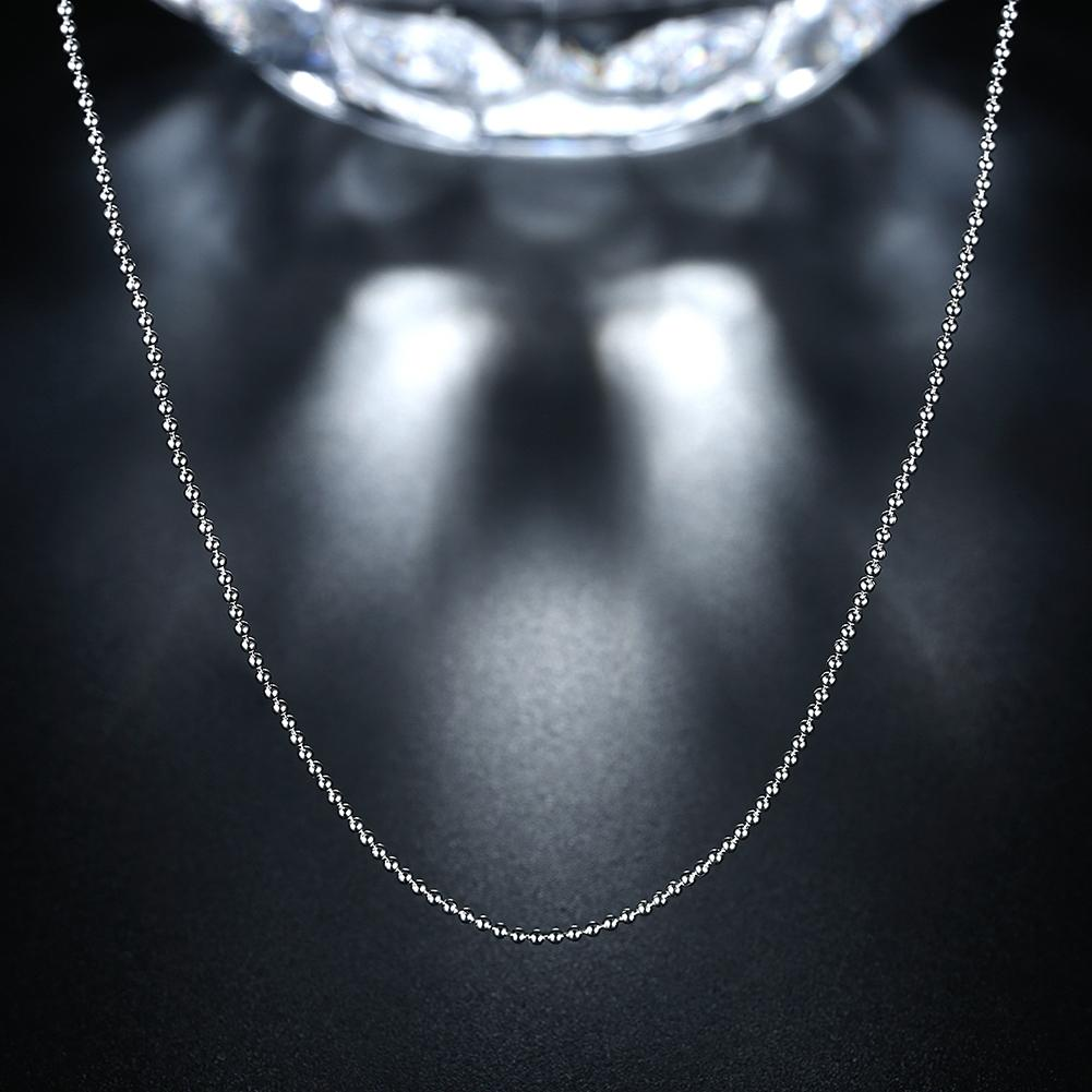 18K White Gold Plated  Mini Ball Chain Necklace