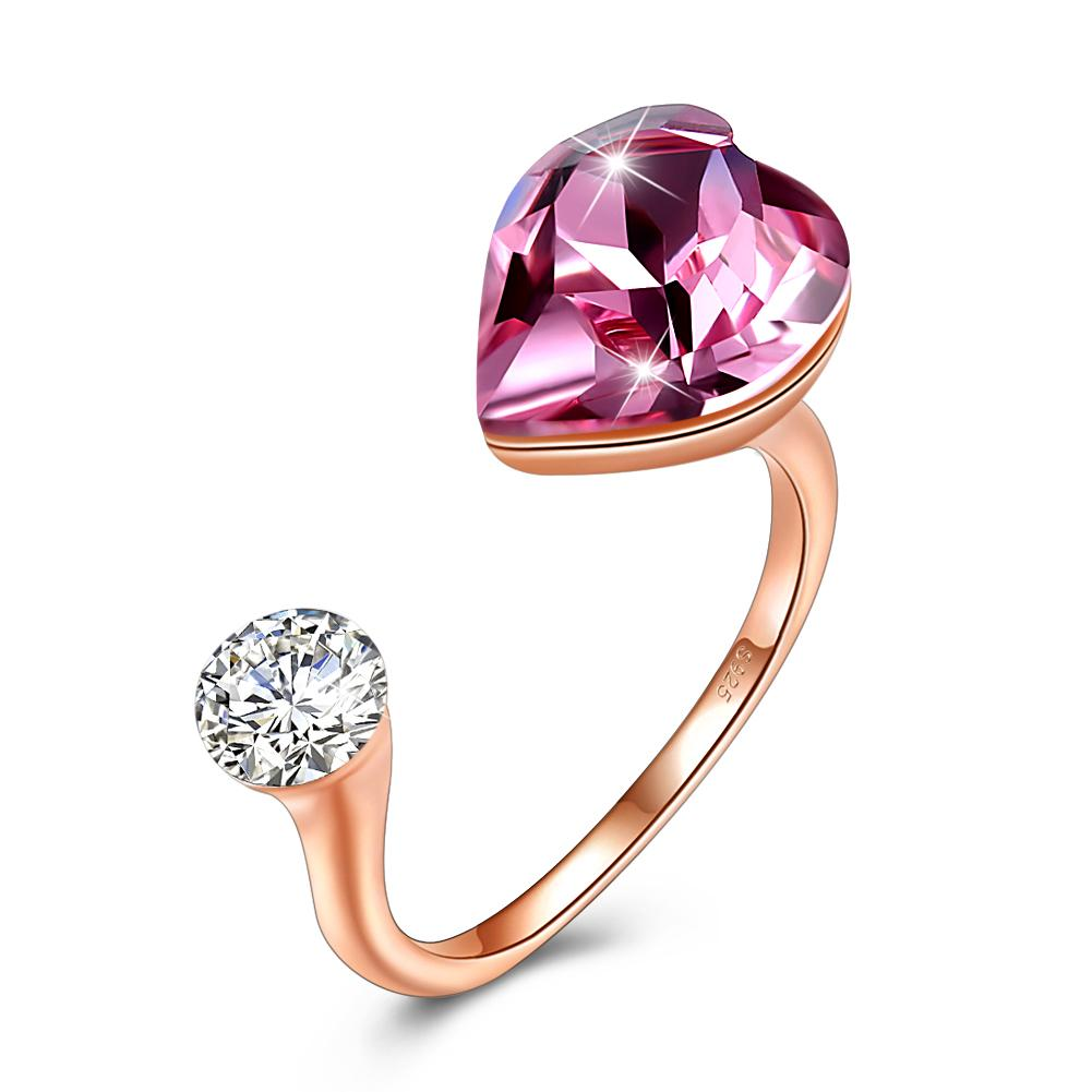 Pink Sapphire Heart Shaped Adjustable Ring
