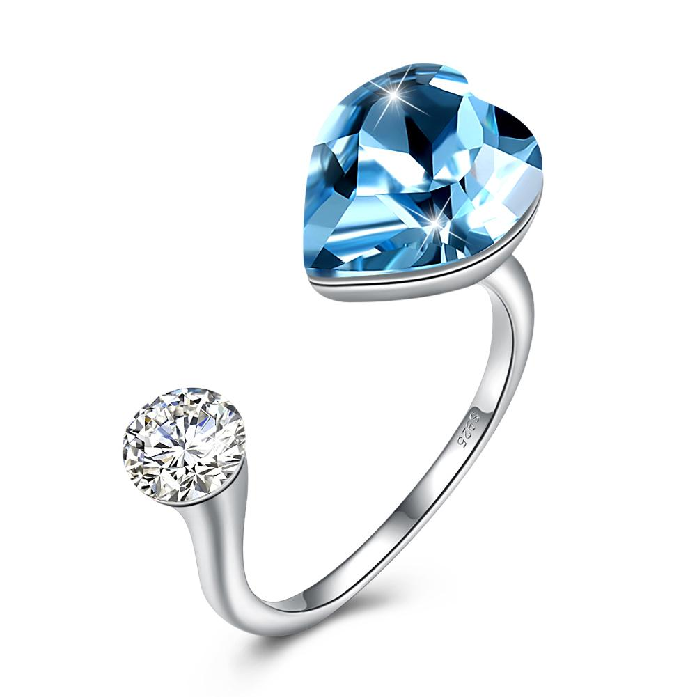 Sapphire Heart Shaped Adjustable Ring