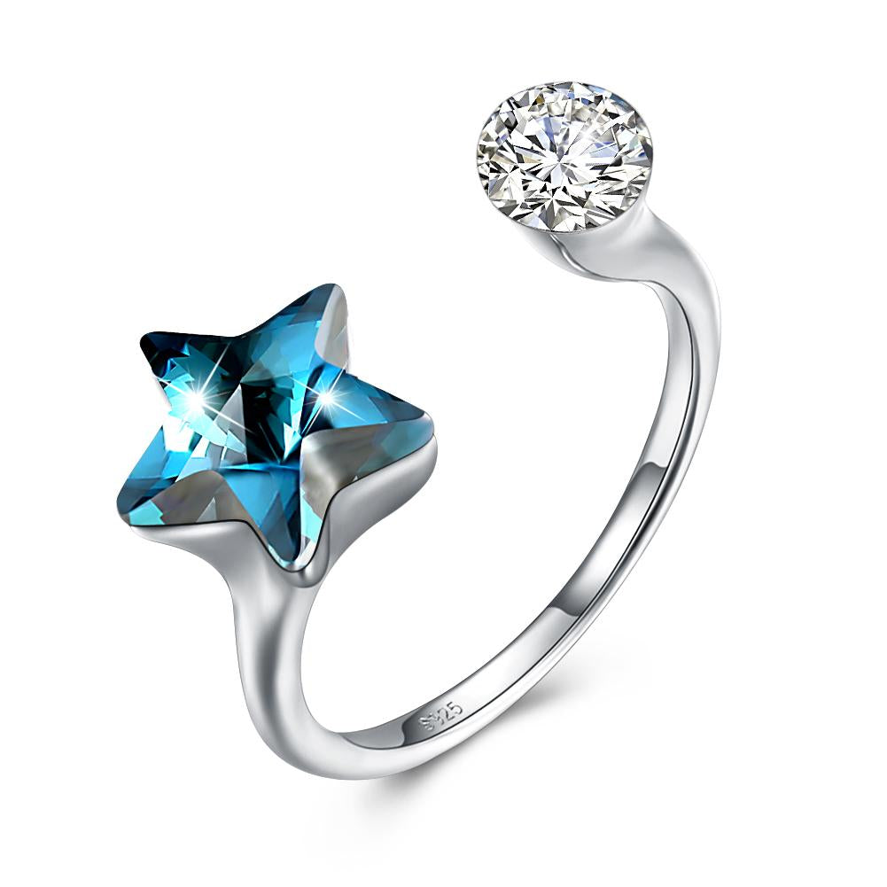 Sapphire Star Shaped Adjustable White Gold Ring