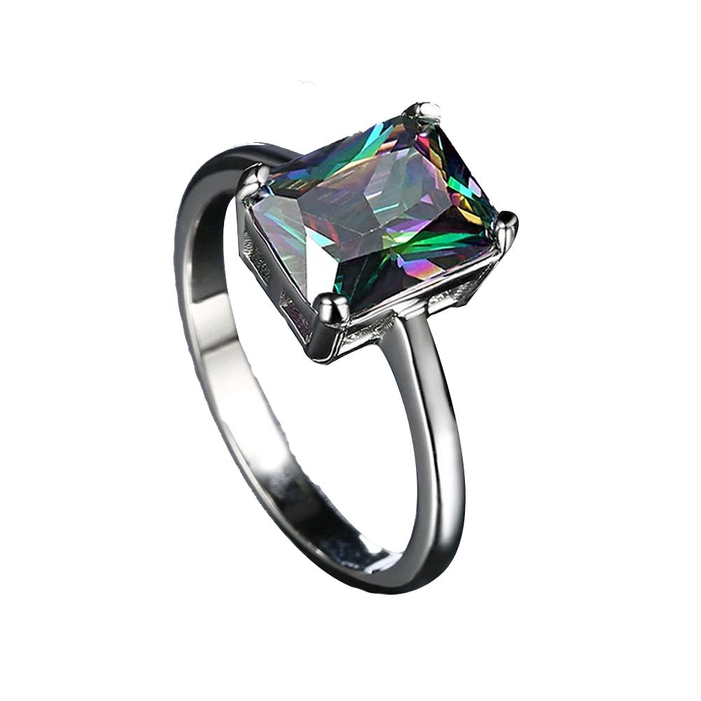 Smoky Mystic Topaz Emerald Cut Ring in 18K White Gold